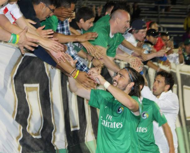 Players celebrate with the fans after defeating the Res Bulls 3-0. Photo Credit - Eytan Calderon
