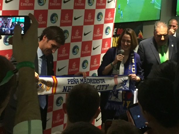 Raul at Buffalo Wild Wings with the head of the Pena Madridista Supports Group. Photo Credit - Cesar Trelles