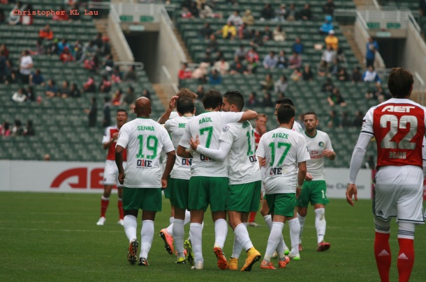 The Cosmos Celebrate After Sebastian Guenzatti's First Half Goal (photo credit - Christopher KL Lau)
